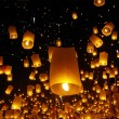 Balloon fire yeepeng in north Thailand chiangmai — Stock Photo
