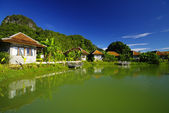 Suburban Executive Home on lake, real estate, copy space — Stock Photo
