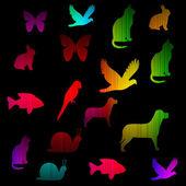 Animal neon spectrum glowing background. — 图库照片
