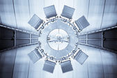 Abstract blue plafond interieur achtergrond — Stockfoto