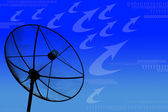 Satellite dish transmission data on blue background — Stock Photo