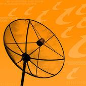 Satellite dish transmission data on orange background — Stock Photo