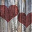 Love heart on vintage wood background texture — Photo