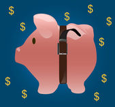 Saving money with pig coin bank — Stock Photo