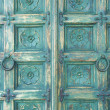 Wood door green color — Stock Photo