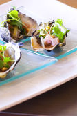 Oyster luxury on dish — Stock Photo