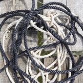 Rope on wood — Stock Photo