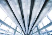 Abstract blauwe metalen stijl plafond — Stockfoto