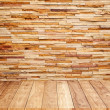 Brick wall with wooden floor background texture — Foto Stock