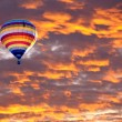 Balloon on Sunset or sunrise with clouds, light rays and other  atmospheric effect — Stock Photo