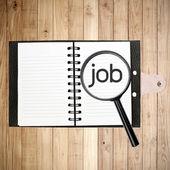 Job-textsuche auf holz plank wand textur hintergrund — Stockfoto
