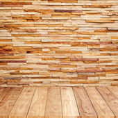 Brick wall with wooden floor background texture — Stock Photo