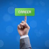 Career business man press button — Stock Photo