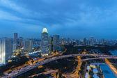 Singapore cityspace on evening twilight sky — Stock Photo