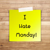 I hate monday on sticky paper on Brown wood plank wall texture b — Stock Photo