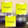Life process sticky paper on glass with drops water background — Stock Photo
