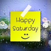 Happy Saturday with water drops background with copy space — Stock Photo