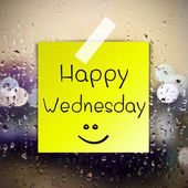 Happy Wednesday with water drops background with copy space — Stock Photo