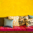 Vintage retro living room with pillows — Stock Photo