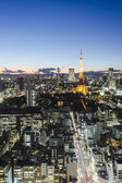 Tokyo tower skyline cityspace sunset view — Stock Photo