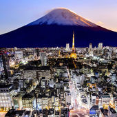 Mount Fuji and tokyo city in twilight — Stock Photo
