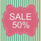 Vintage label sale off on pastel stripe. Vector, EPS10 — Stockvector