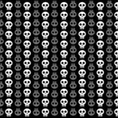 White skull patterns on black background — Vector de stock