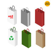 6 templates paper color bag vector — Stok Vektör