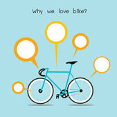 Why we love bike. bicycle with quote text vector. EPS10 — Stock Vector