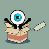 The blue eye happy in gift box — Stock Vector