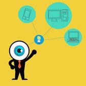 De blue eye krijgen idee cloud computing concept — Stockvector