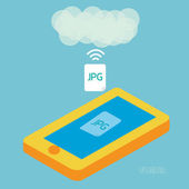 Smartphone upload jpeg photo to cloud computing. eps10 — Stock Vector