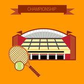 Championship tennis stadium — Stock Vector