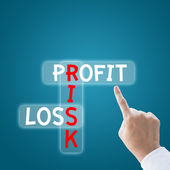Business hand finger to profit risk loss — Stock Photo