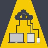 Cloud computing share music — Stock Vector