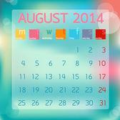 Calendar August 2014, Flat style background, vector illustration — Stock Vector