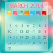 Kalender März 2014, flache Hintergrund, Vektor-illustration — Stockvektor