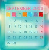Calendar September 2014, Flat style background, vector illustrat — Stock Vector