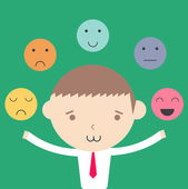 Businessman emotional control management concept cartoon illustr — Stok Vektör