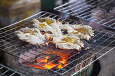 Big prawn fire grill — Stock Photo