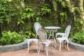 White vintage chairs in the garden — Stock Photo