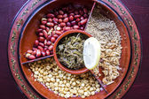 A selection of typical Myanmar snacks: tasty and spicy seeds, nu — Photo