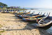 Wood boat Myanmar style at Ubein bridge. Mandalay. Myanmar — Stock Photo