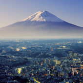 Mount Fuji. Fujiyama. Aerial view with cityspace surreal shot. J — Stock Photo