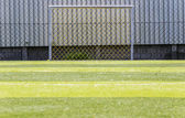 Goal soccer green field background — Stock Photo
