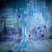 Old wood floor texture and background in blue color — 图库照片