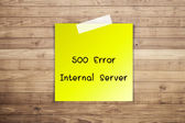 500 Internal server error on Brown wood plank wall texture backg — Stock Photo