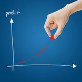 Zakelijke hand helpen winst grafiek — Stockfoto