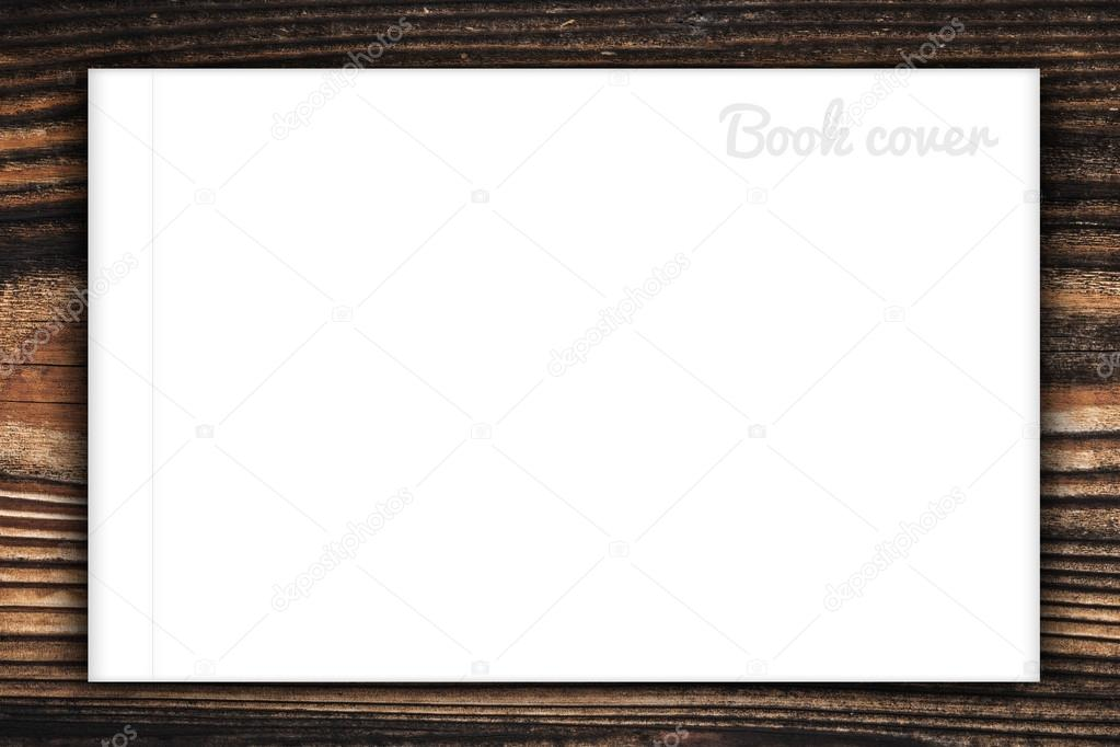 空白的书或杂志的封面上木背景