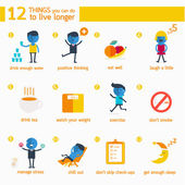 Infographic 12 things you can do to live longer. — Stock Vector
